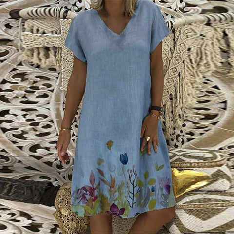 Plant Print V-Neck Short Sleeve Dress