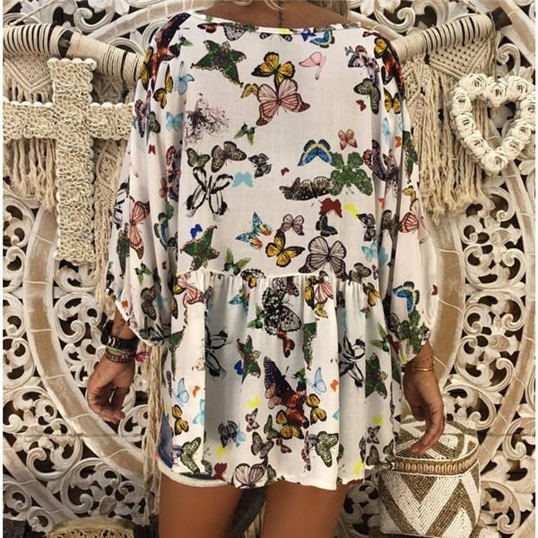 Sexy V Collar Butterfly Printed Nine Sleeve Shirt