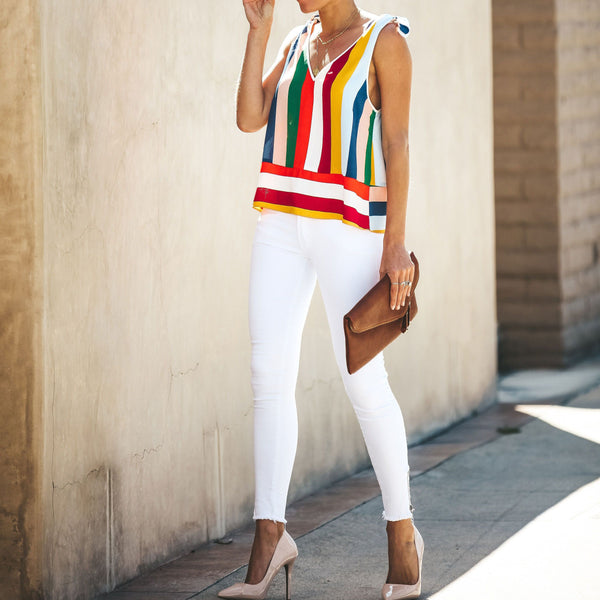 Sling Strap Vertical Stripes Rainbow V-Neck Sling T-Shirts