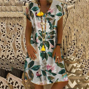 Fashion Printed Short Sleeves Casual Dresses