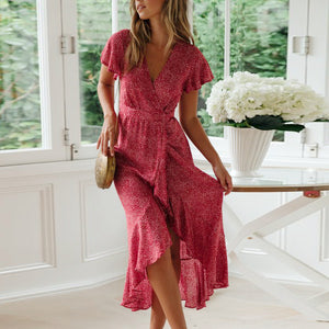 Small Floral V-Neck Short-Sleeved Lace Dress