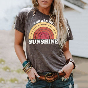 You Are My Sunshine Rainbow Round Neck Short Sleeve T-Shirt