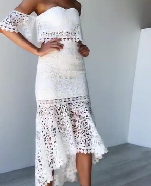 Lace Tube Top Halter Pencil  Skirt