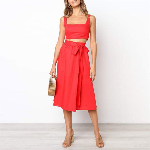Summer Simplicity Shoulder Straps Solid Color Strappy Two-Piece Dress