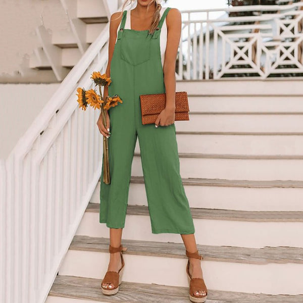 Fashion Women's Nine-Point Bib Pants Casual Jumpsuit