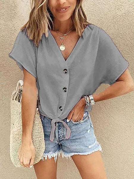 V-Neck Short-Sleeved Button-Down Shirt