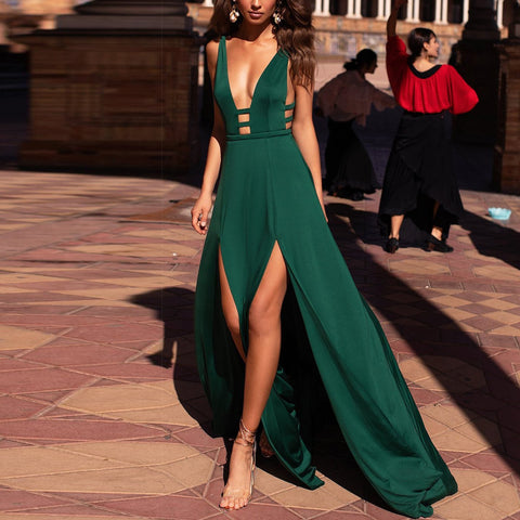 Fashion Sexy Deep V Sleeveless   Sling Dress