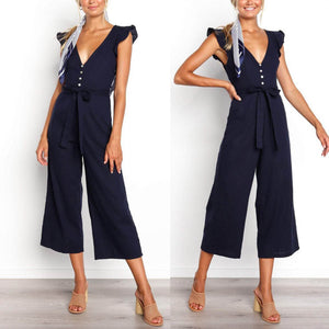 Deep V Lotus Leaf Sleeve Jumpsuit