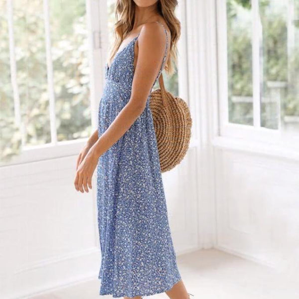 Fashion Sling V-Neck Large Swing Dress