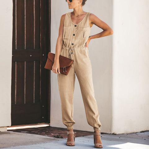 Summer Women's V-Neck Sleeveless Lace-Up Jumpsuit