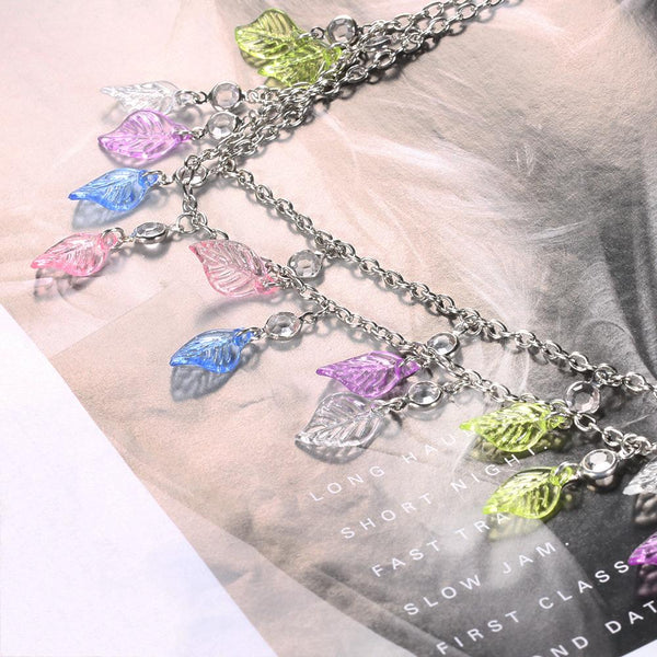Fashion Bohemian Style Colored Leaves Diamond-Studded Waist Chain