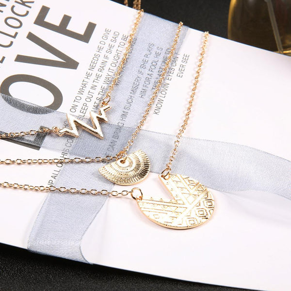 Fashion Multi-Layer Necklace Bohemian Style Engraving Round Heartbeat Pendant
