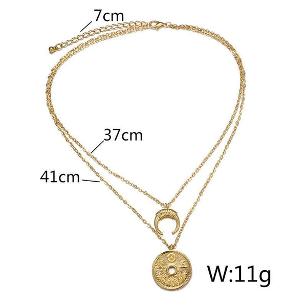 Fashion Popular Personality Retro Coin Moon Horn Combination Double Layer Necklace Set