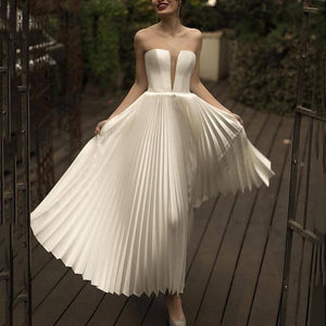 Fashion Sexy Deep V Tube Top   Pleated Dress