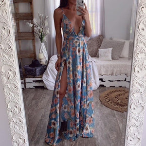 Sling Strapless Printed Bohemian   Dress