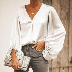 Fashion Wild Lantern Sleeves   V-Neck Top