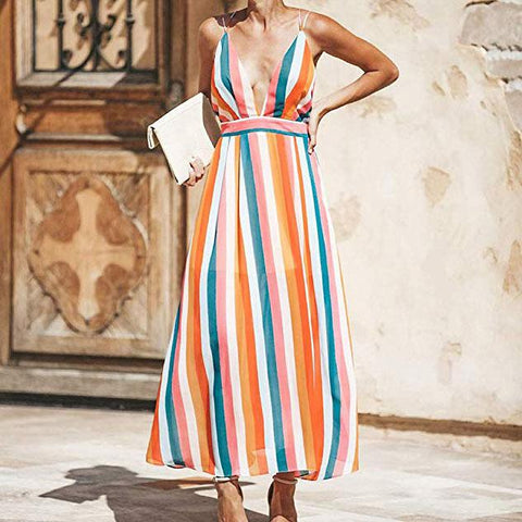 Sexy Colorblock Striped   Strapless Halter Dress