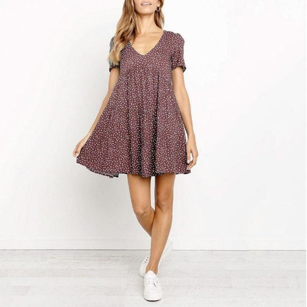 Polka Dot Printed Short Sleeve Large Swing Dress