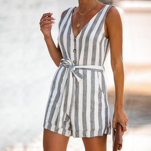 Fashion Casual V-Neck Striped   Button-Up Jumpsuit