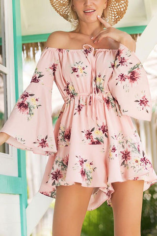 Sexy Elegant Off Shoulder Floral Print Rompers