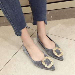 Rhinestone wild soft bottom pointed flat shoes