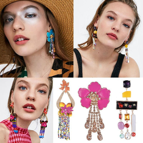 Fashion Flower Long Claw Chain Tassel Earrings