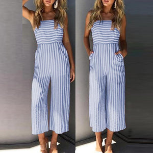 Sexy Stripe Sleeveless Bowknot Jumpsuit