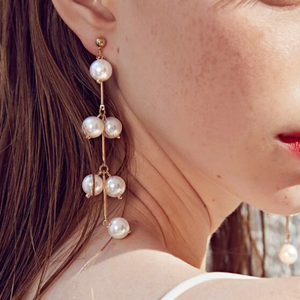 JOJORUBY Fashion Long Pearl Tassel Earrings
