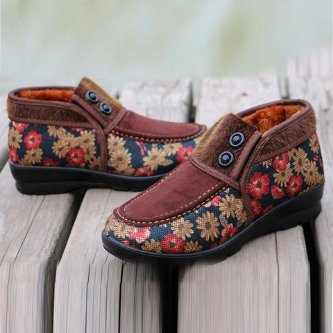 High Floral Cotton Cloth Shoes
