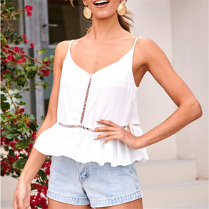 V-Neck Sleeveless Halter Laced Sweet Top