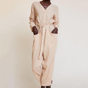 V-Neck Pocket Waistband Loose Jumpsuit