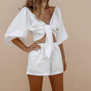 V-Neck Knotted Lantern Sleeve Shirt Shorts Suit