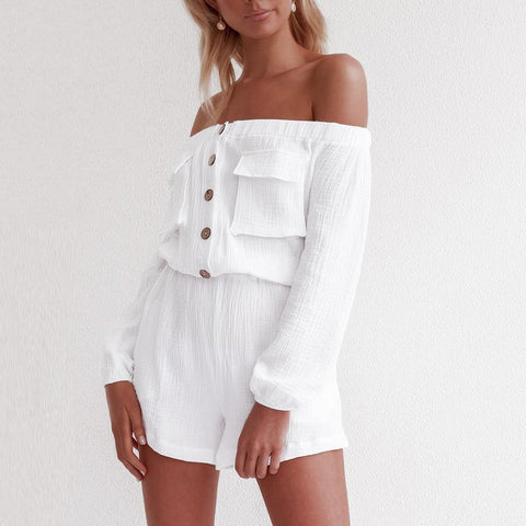 One-Shoulder Pocket Top Loose Shorts Suit