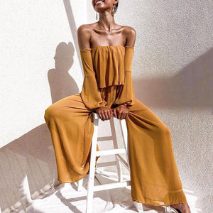 Off-The-Shoulder Lantern Sleeves Wide-Leg Pants Chiffon Jumpsuit