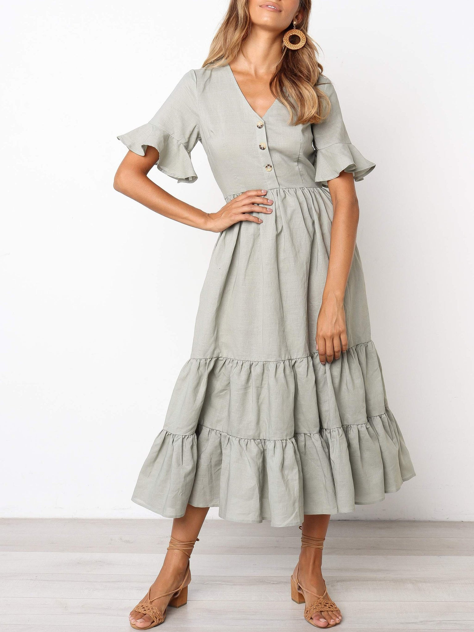 V-Neck Splicing Ruffled Buttoned Solid Color Dress