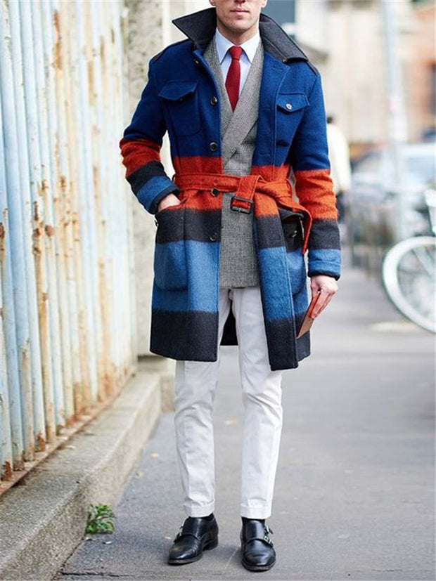 Men's Fashion Stitching Contrast Coat