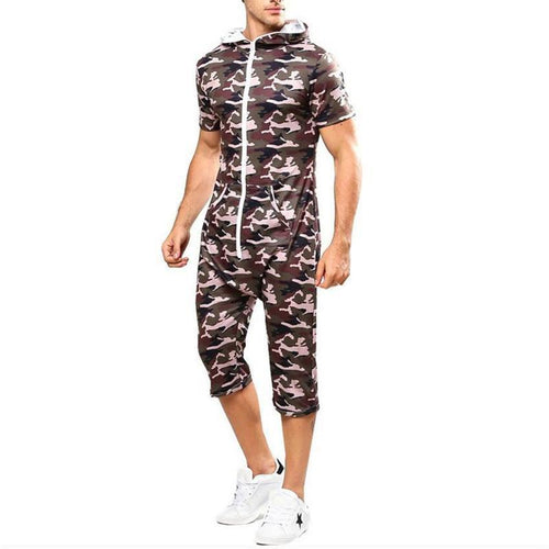 Men's Camouflage Printed Hooded Short Sleeves Jumpsuits