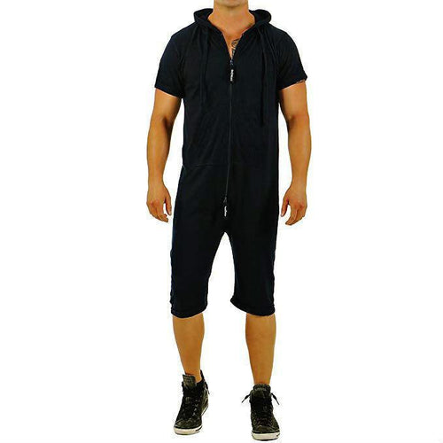 Men's Fashion Solid Color Hooded Short Sleeve Onesie