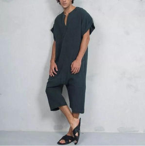 Mens Loose Solid Color Short Sleeve T-Shirts Jumpsuit