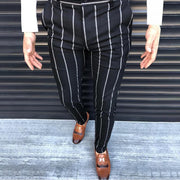 Men's Commuting Stripe Elastic Slim Fit Pants