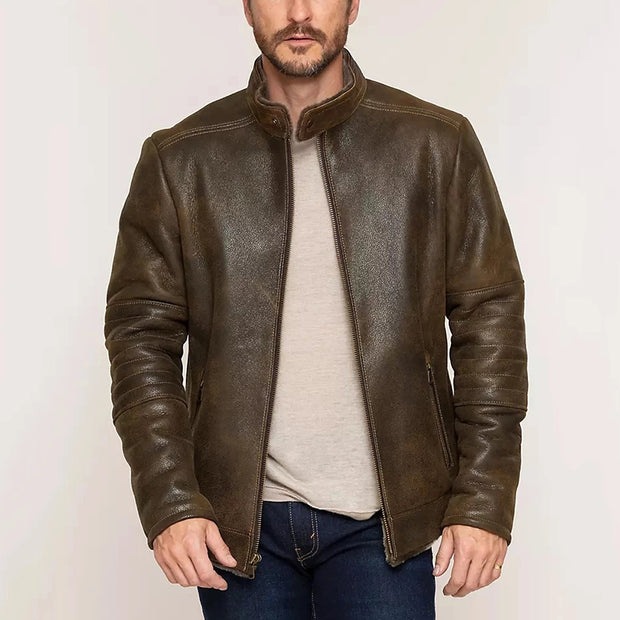 Classic Casual Leather Brown Long Sleeves Fitted Jacket