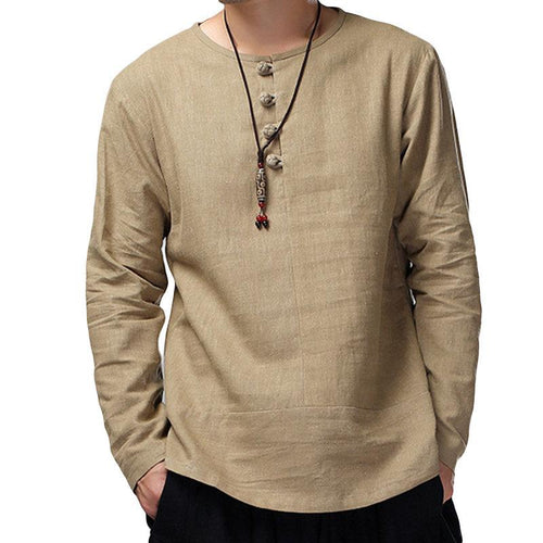 Men's Chinese Wind Button Long Sleeve T-Shirt