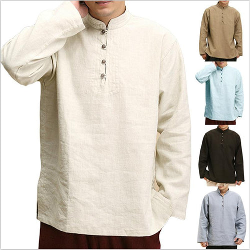 Solid Loose Half-Placket Stand Collar Shirt