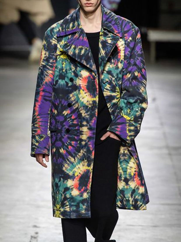 Fashion Creative Multicolor Pattern Mid-Length Coat