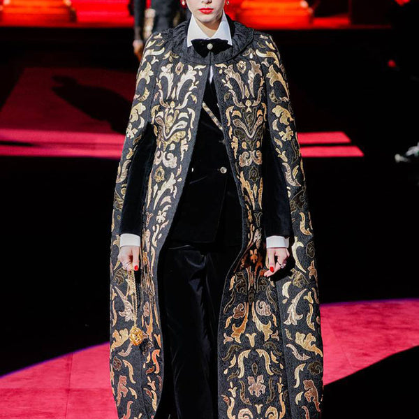 Aristocratic style long cloak coat