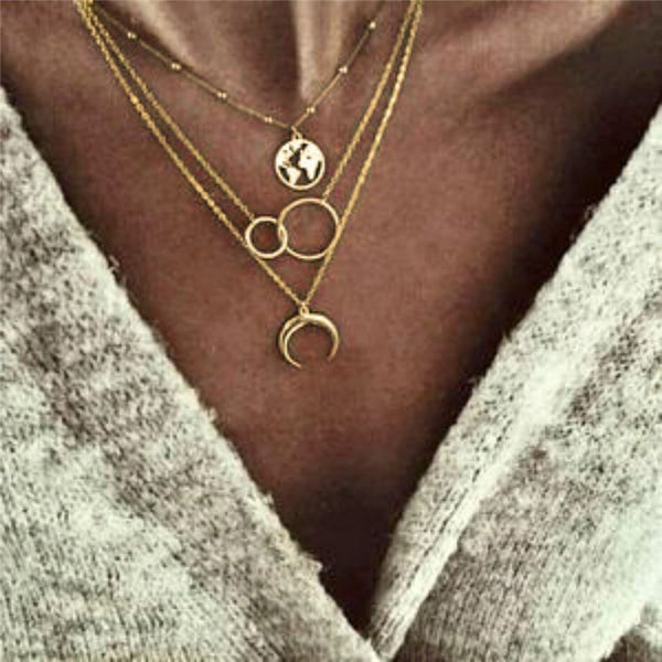 Moon map personality boho multi-layer necklace