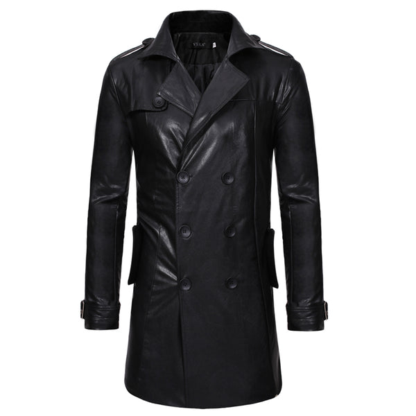 Casual double-breasted large lapel leather trench coat