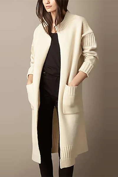 Elegant Stand Collar Pure Colour Patch Pocket Overcoat