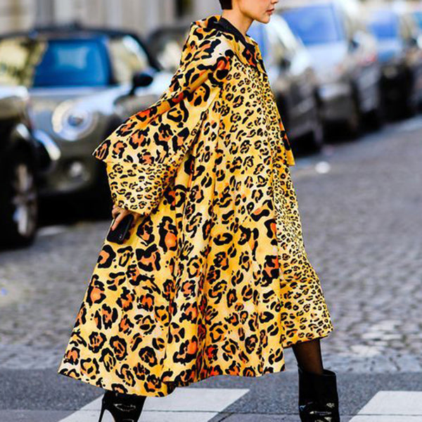 Women's fashion leopard print long loose coat