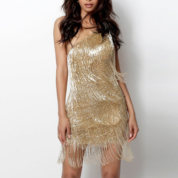 Women's fashion shoulder-shoulder beaded tassel dress